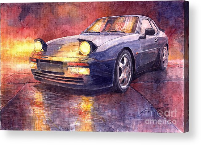 Auto Acrylic Print featuring the painting Porsche 944 Turbo by Yuriy Shevchuk