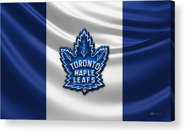 Hockey Hall Of Fame 3d By Serge Averbukh Acrylic Print featuring the photograph Toronto Maple Leafs - 3D Badge over Flag by Serge Averbukh