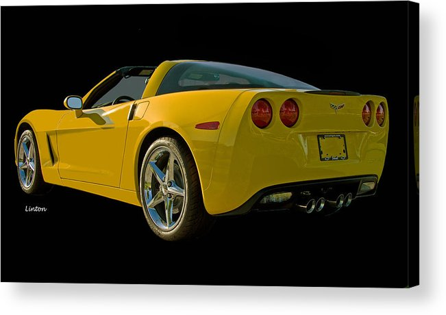 Chevrolet Corvette Acrylic Print featuring the photograph Yellow Corvette by Larry Linton