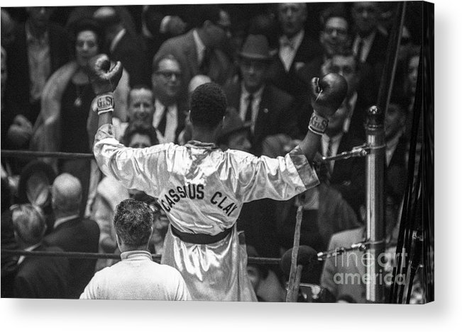 Heavyweight Acrylic Print featuring the photograph Cassius Clay Vs Doug Jones by The Stanley Weston Archive