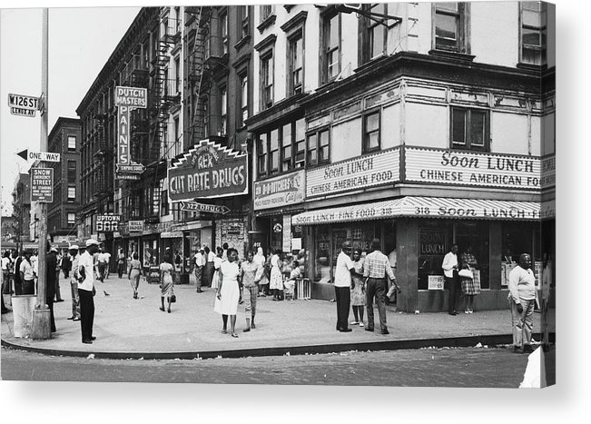 Pedestrian Acrylic Print featuring the photograph 125th & Lenox, 1963 by Fred W. McDarrah