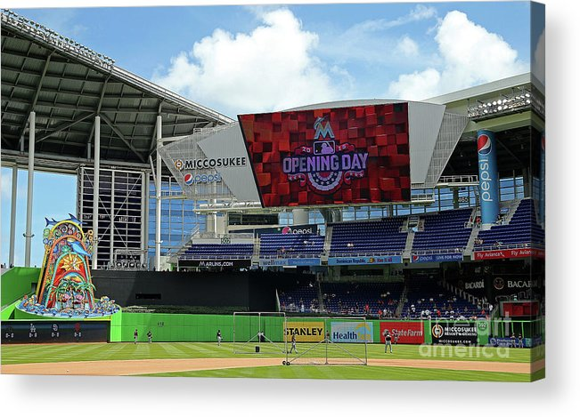 American League Baseball Acrylic Print featuring the photograph Atlanta Braves V Miami Marlins by Mike Ehrmann