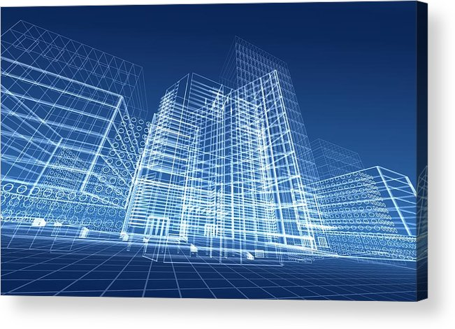 Plan Acrylic Print featuring the photograph Architectural Blueprint Designs For by Dinn