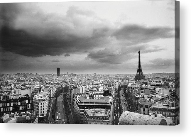 Black Color Acrylic Print featuring the photograph Black And White Aerial View Of An by Stockbyte