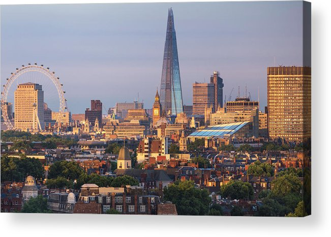 Tranquility Acrylic Print featuring the photograph City Skyline In Late Evening Sunlight by Simon Butterworth
