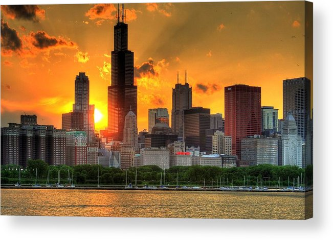 Tranquility Acrylic Print featuring the photograph Hdr Chicago Skyline Sunset by Jeffrey Barry