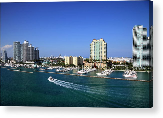 Built Structure Acrylic Print featuring the photograph Miami Beach Marina by Jorgegonzalez