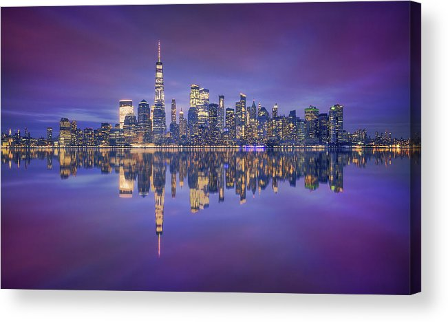 Night Acrylic Print featuring the photograph Skyline From Nj by Carlos F. Turienzo