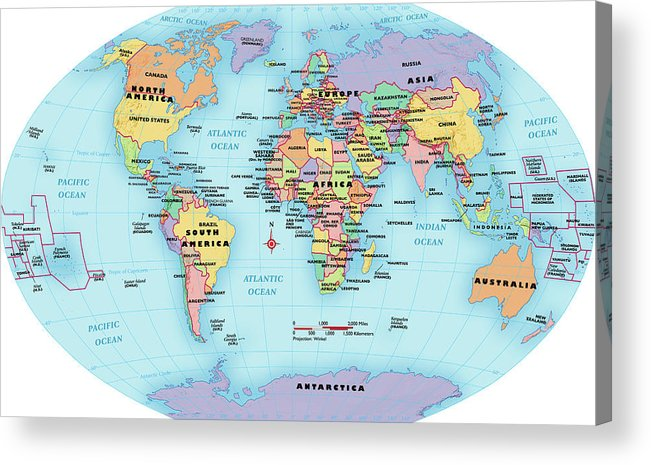 Horizontal Acrylic Print featuring the digital art World Map, Continent And Country Labels by Globe Turner, Llc