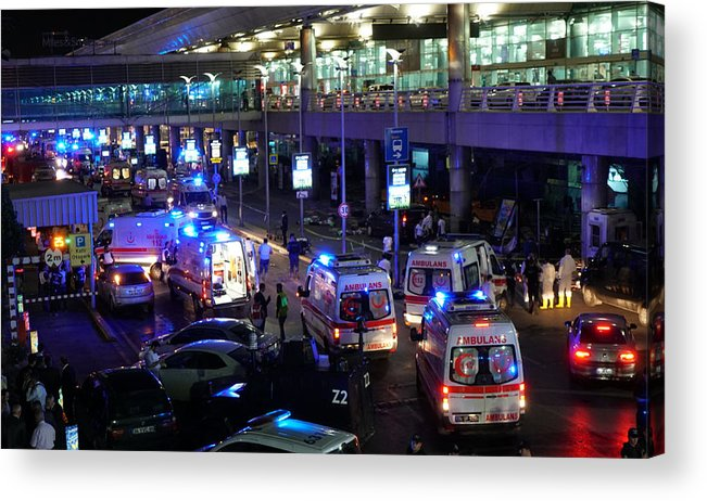 Ambulance Acrylic Print featuring the photograph At Least 10 Killed In Suicide Bomb Attack On Ataturk International Airport In Istanbul by Getty Images