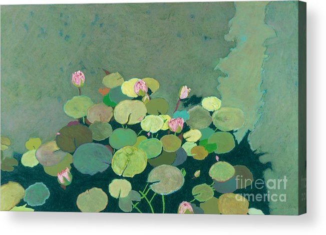 Landscape Acrylic Print featuring the painting Bettys Serenity Pond by Allan P Friedlander
