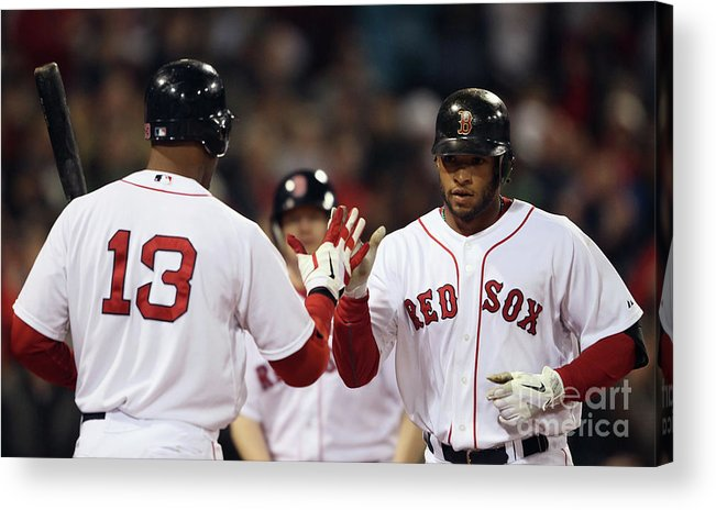 People Acrylic Print featuring the photograph Carl Crawford and Darnell Mcdonald by Elsa