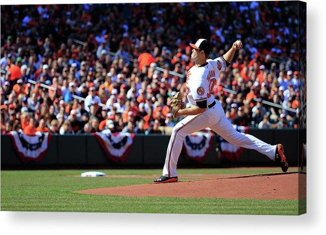 American League Baseball Acrylic Print featuring the photograph Chris Tillman by Rob Carr