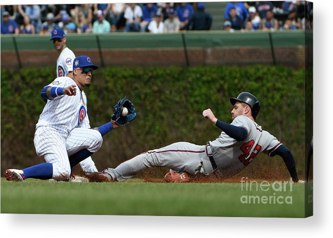 People Acrylic Print featuring the photograph Freddie Freeman and Javier Baez by David Banks