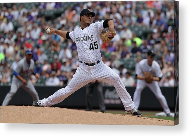 Defeat Acrylic Print featuring the photograph Jhoulys Chacin by Doug Pensinger