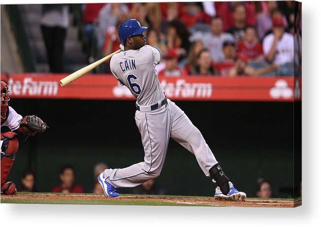 American League Baseball Acrylic Print featuring the photograph Lorenzo Cain by Stephen Dunn