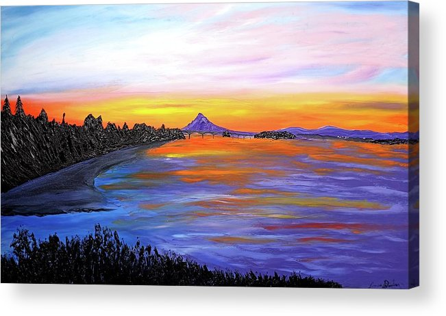 Acrylic Print featuring the painting Mount Hood Over Wintler Beach #1 by Dunbar's Local Art Boutique