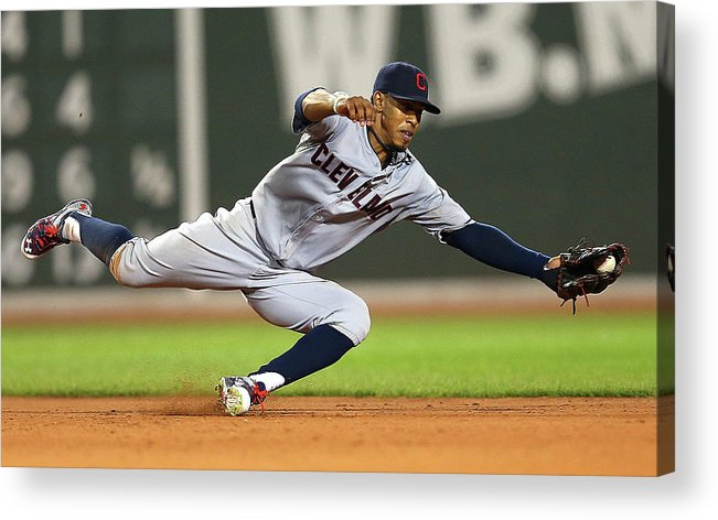 People Acrylic Print featuring the photograph Rusney Castillo and Francisco Lindor by Jim Rogash