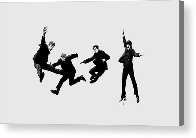 The Beatles Acrylic Print featuring the painting The Beatles Jump by Tony Rubino