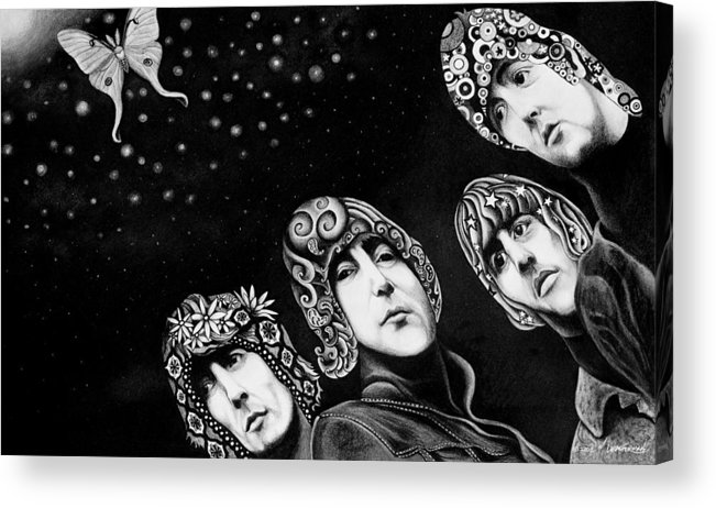 The Beatles Acrylic Print featuring the drawing The Beatles by Matthew Leatherman