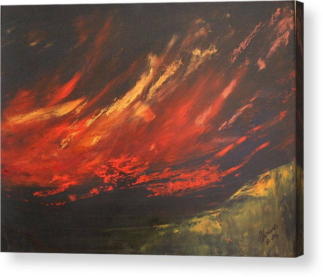 Clouds Acrylic Print featuring the painting Camberwell Skies by Jan Lowe