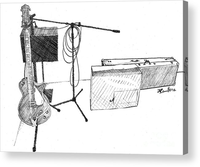 Musical Sketch Acrylic Print featuring the drawing Gretsch by Andrew Cravello
