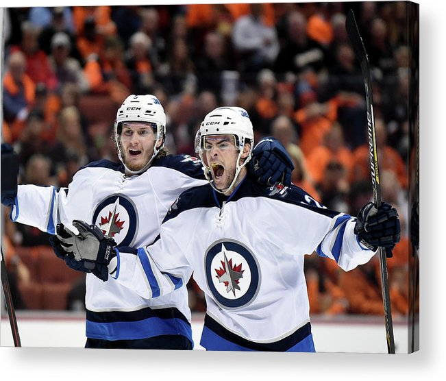 Drew Stafford Acrylic Print featuring the photograph Winnipeg Jets V Anaheim Ducks - Game One by Harry How