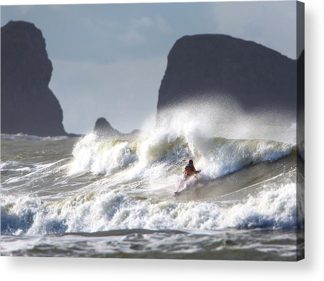 Action Acrylic Print featuring the photograph La Push Pummel And Sea Stacks by Gary Luhm