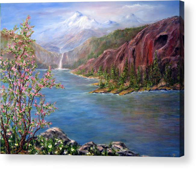 Snow Capped Mountains Acrylic Print featuring the painting Spring on Glacier Lake by Thomas Restifo