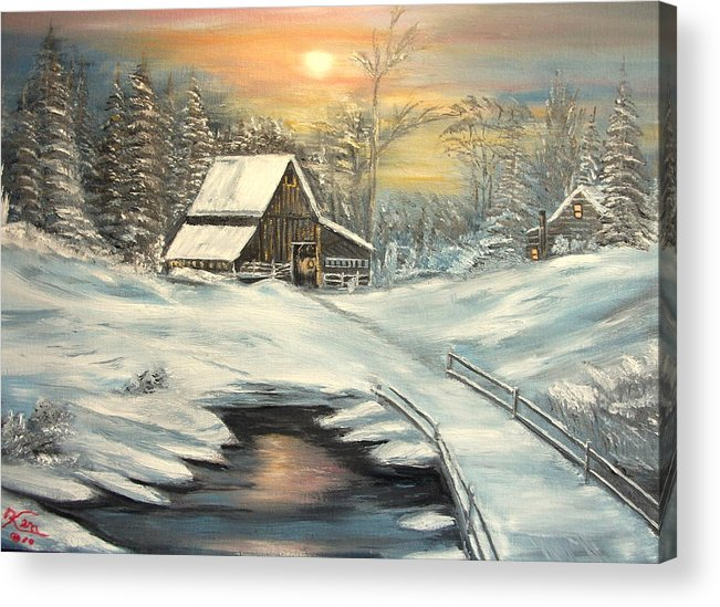 Winter Acrylic Print featuring the painting Winter by Kenneth LePoidevin