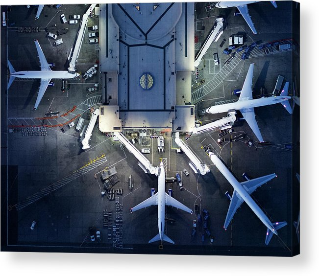 Airport Terminal Acrylic Print featuring the photograph Airliners At Gates And Control Tower by Michael H