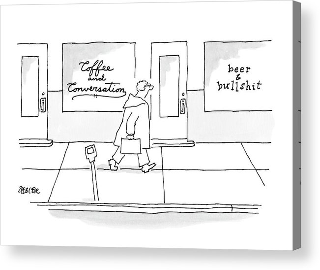 Coffee Acrylic Print featuring the drawing A Man Walks Past Two Shops by Jack Ziegler
