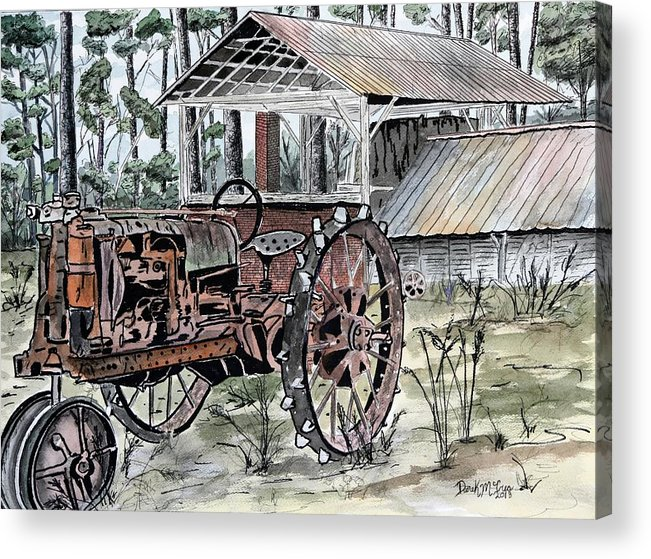 Tractor Acrylic Print featuring the painting Antique Farm Tractor  by Derek Mccrea