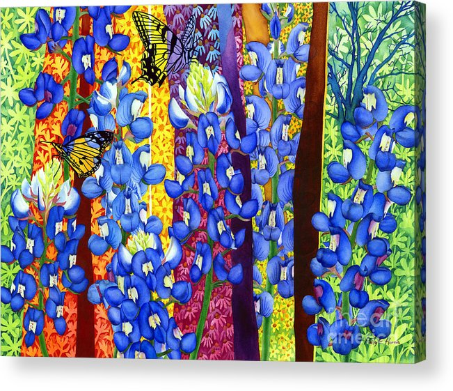 Bluebonnet Acrylic Print featuring the painting Bluebonnet Garden by Hailey E Herrera