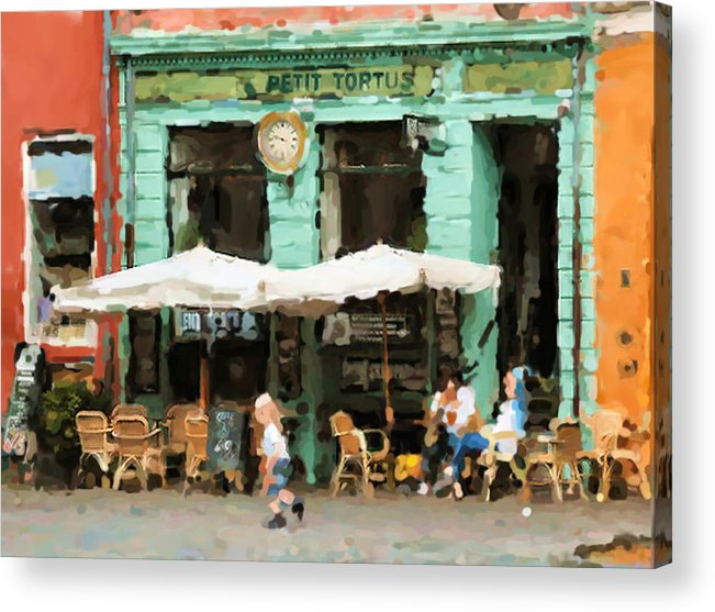 Buenos Aires Caminito Restaurant Petit Tortus Painting Acrylic Print featuring the digital art Buenos Aires Caminito restaurant PETIT TORTUS Painting by Asbjorn Lonvig