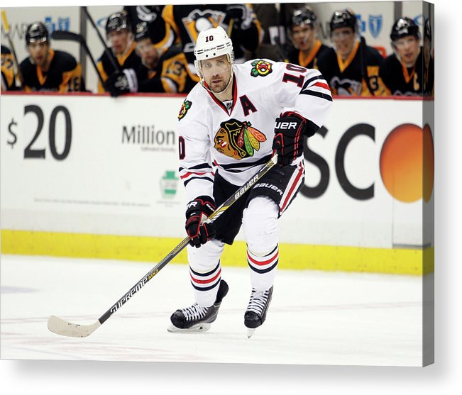 People Acrylic Print featuring the photograph Chicago Blackhawks V Pittsburgh Penguins by Justin K. Aller