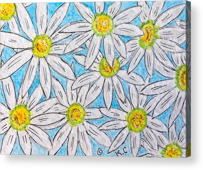 Daisy Acrylic Print featuring the painting Daisies Daisies by Kathy Marrs Chandler