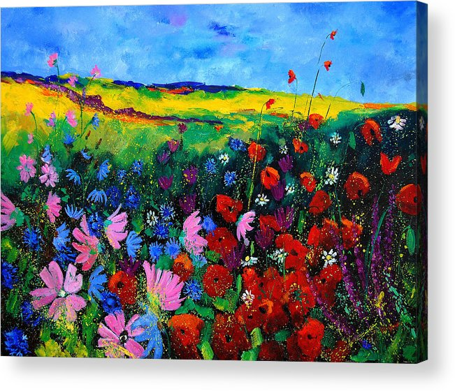 Poppies Acrylic Print featuring the painting Field flowers by Pol Ledent