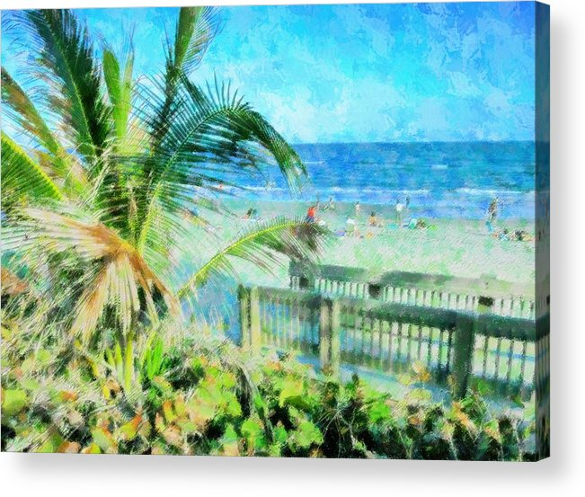 Beach Acrylic Print featuring the mixed media From The Boardwalk by Florene Welebny
