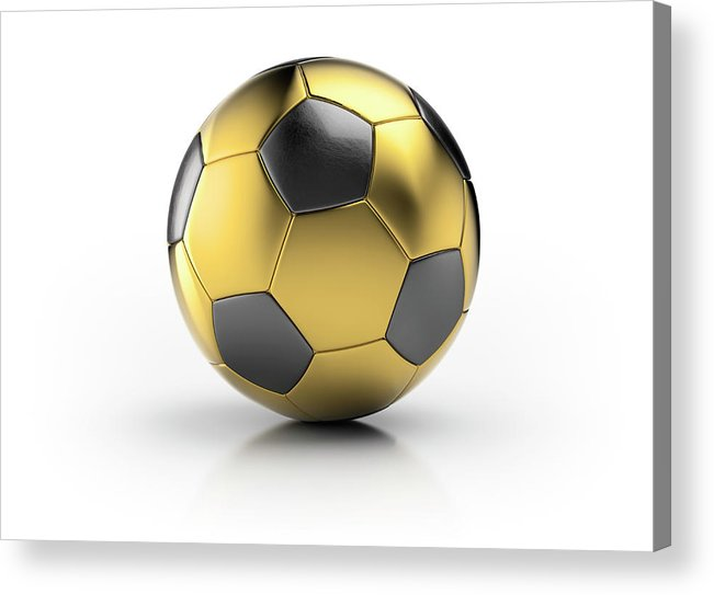 White Background Acrylic Print featuring the photograph Gold Football by Atomic Imagery