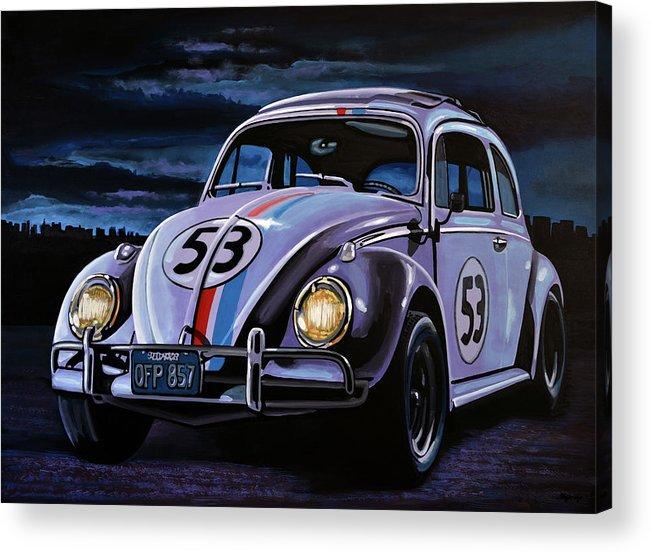 Herbie Acrylic Print featuring the painting Herbie The Love Bug Painting by Paul Meijering