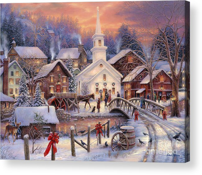 Snow Village Acrylic Print featuring the painting Hope Runs Deep by Chuck Pinson