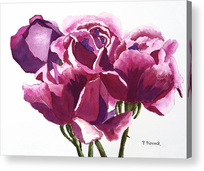 Flower Acrylic Print featuring the painting Hot Pink Roses by Patricia Novack
