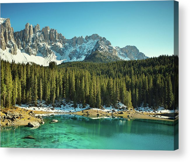 Lake Carezza Acrylic Print featuring the photograph Idyllic Mountain Lake by Mammuth