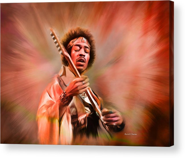 Jimi Hendrix Acrylic Print featuring the painting Jimi Hendrix Electrifying Guitar Play by Angela Stanton