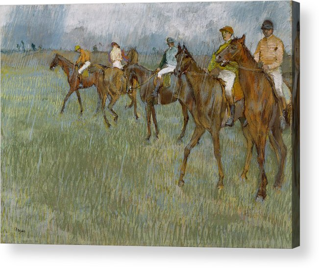 Horse Acrylic Print featuring the drawing Jockeys In The Rain, 1886 by Edgar Degas