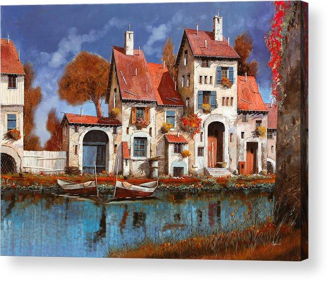 Little Village Acrylic Print featuring the painting La Cascina Sul Lago by Guido Borelli