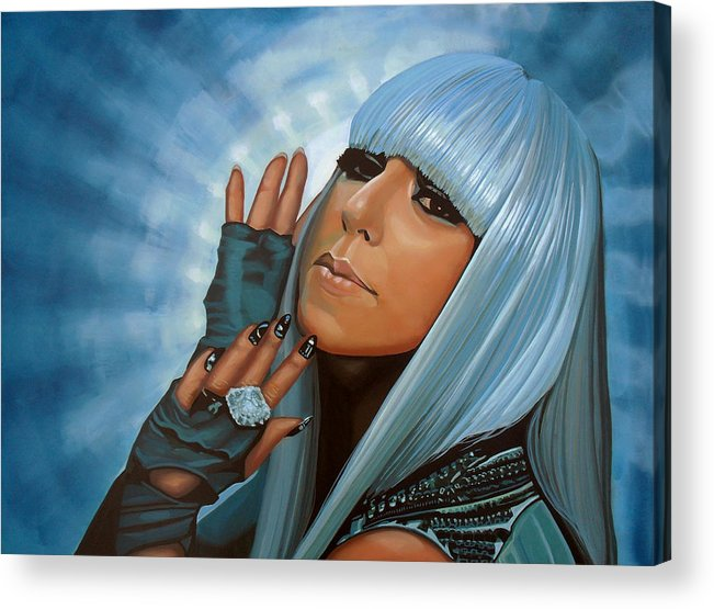 Lady Gaga Acrylic Print featuring the painting Lady Gaga Painting by Paul Meijering
