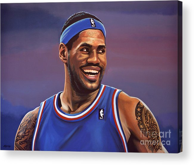 Lebron James Acrylic Print featuring the painting LeBron James by Paul Meijering