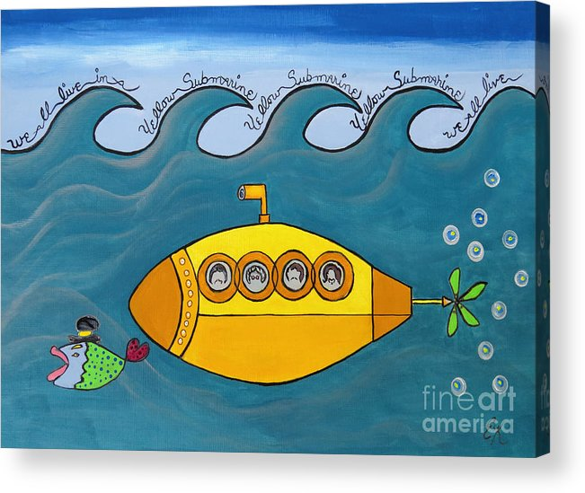 The Beatles Acrylic Print featuring the painting Lets Sing The Chorus Now - the Beatles Yellow Submarine by Ella Kaye Dickey